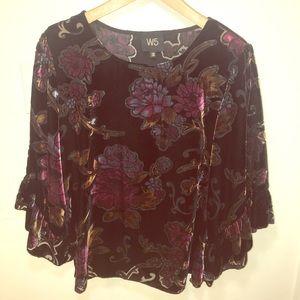 Anthropologie W5 Velvet Black Floral blouse